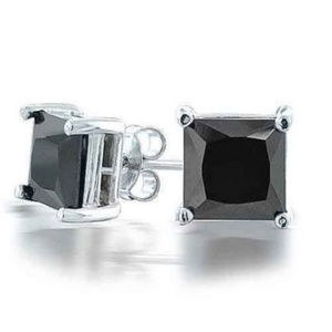 Other - COOL White Gold Filled 7MM Black Stone Studs